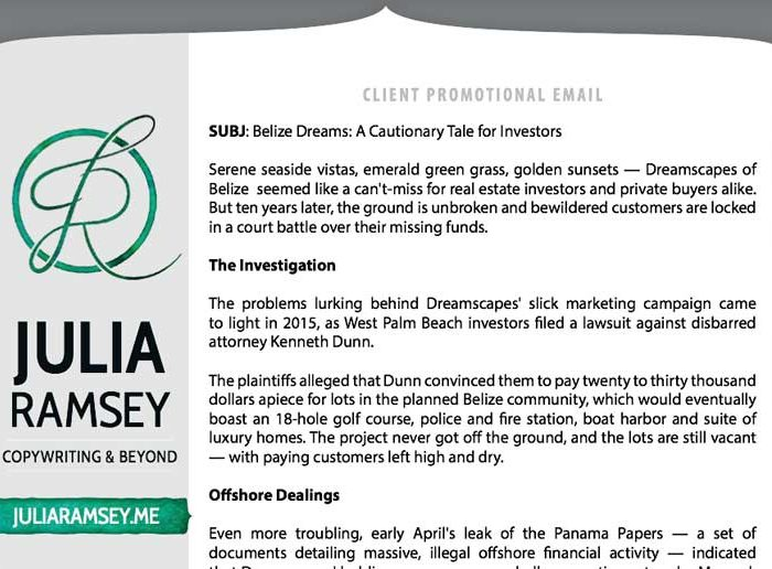 Client Promotional Email: Dreamscapes of Belize