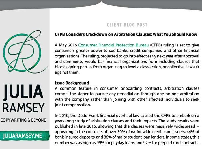 Client Blog Post: CFPB Considers Crackdown on Arbitration Clauses