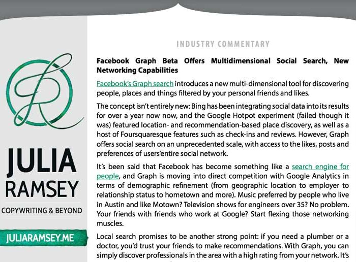 Industry Commentary: Facebook Graph Beta