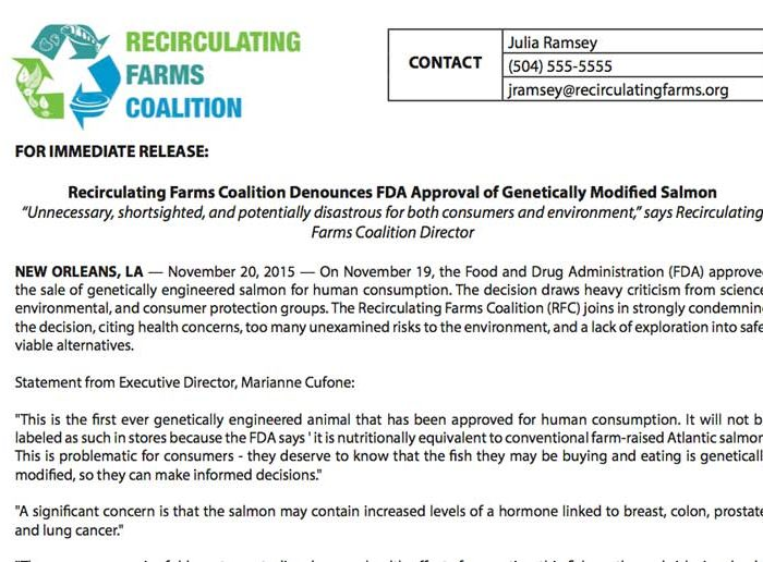 Press Release: FDA Approves Genetically Modified Salmon
