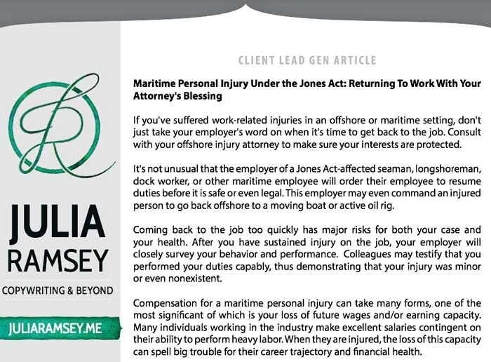 Lead Generation Blog: Maritime Personal Injury Under the Jones Act