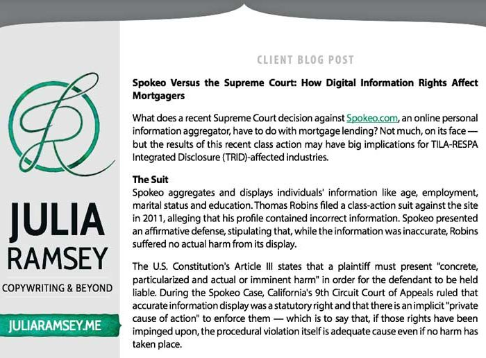 Client Blog Post: Spokeo Versus the Supreme Court